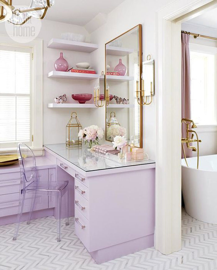 Beautiful lilac and gold bathroom