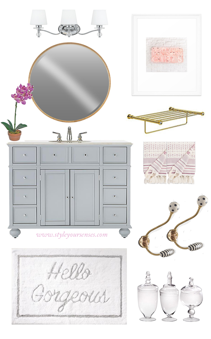 The mood board for a shared little girls bathroom using lavender, gold and grey