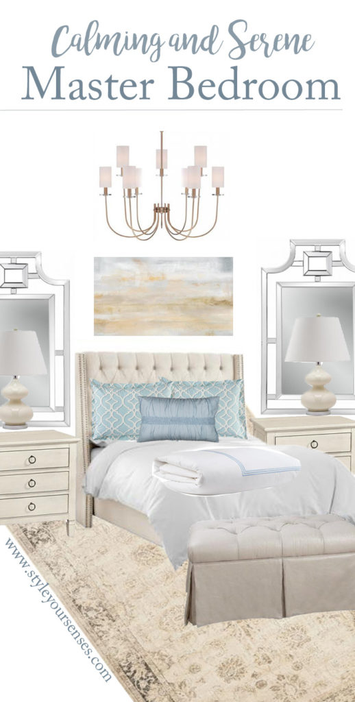 calming master bedroom moodboard