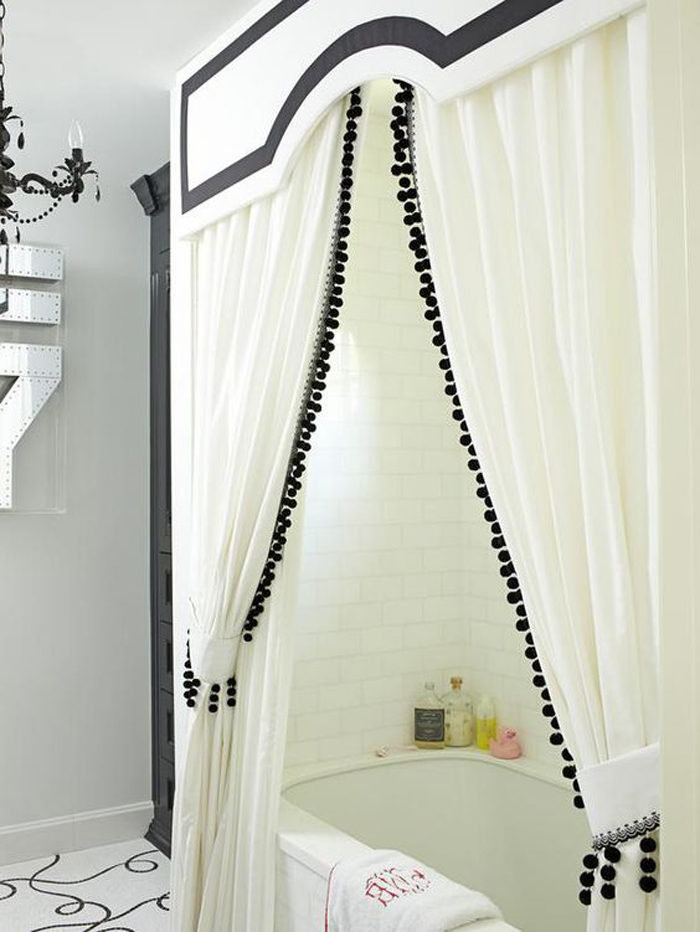 Cornice board and curtains over the shower