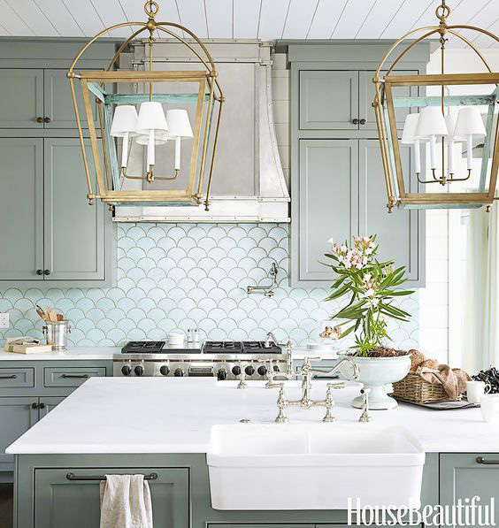 Gorgeous, glam kitchen using sage green, white and gold