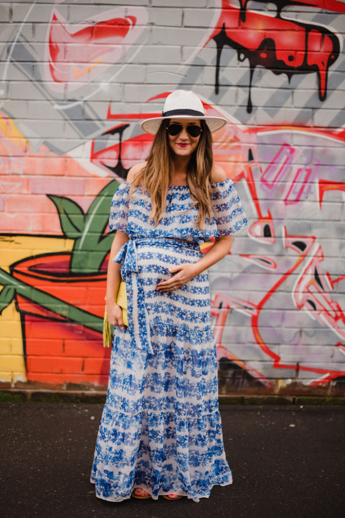 This maxi dress is such a cute look for Spring and even great as a maternity outfit option