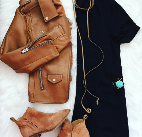 Outfit Inspiration | a cute black dress paired with a moto jacket and boho accessories for a great transitional look