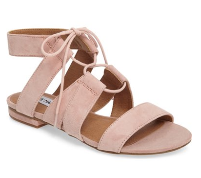 lace up sandals for Spring in blush