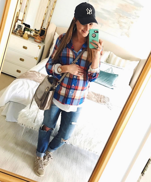 Everyday mom style in this plaid button down and boyfriend jeans