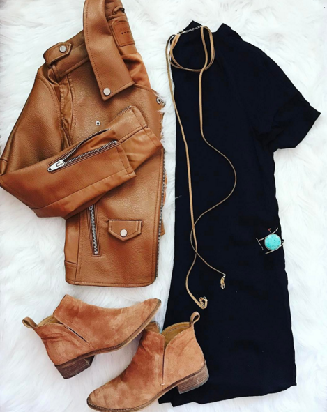 Layer this cognac moto jacket over a simple black shift dress