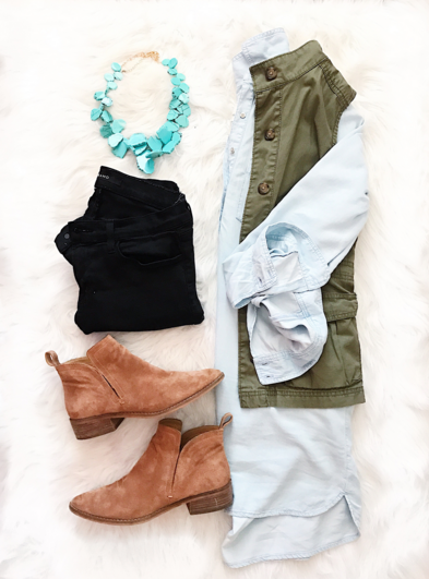 Flat Lay with chambray tunic and utility vest