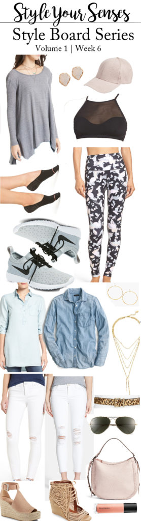 Style Board Series Week 6 | how to wear the Athleisure Trend + Pairing chambray back to white denim for Spring