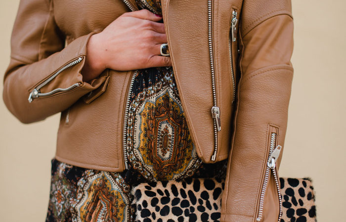 Paisley Shift Dress + Cognac Bomber Jacket