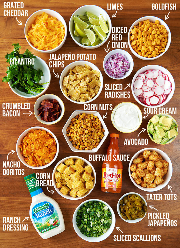 This taco chili bar is a great meal to serve for Superbowl Sunday