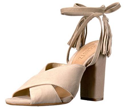 Neutral lace up heel sandal