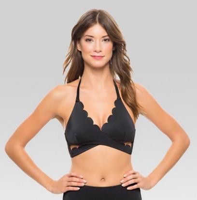 scalloped halter neck bikini