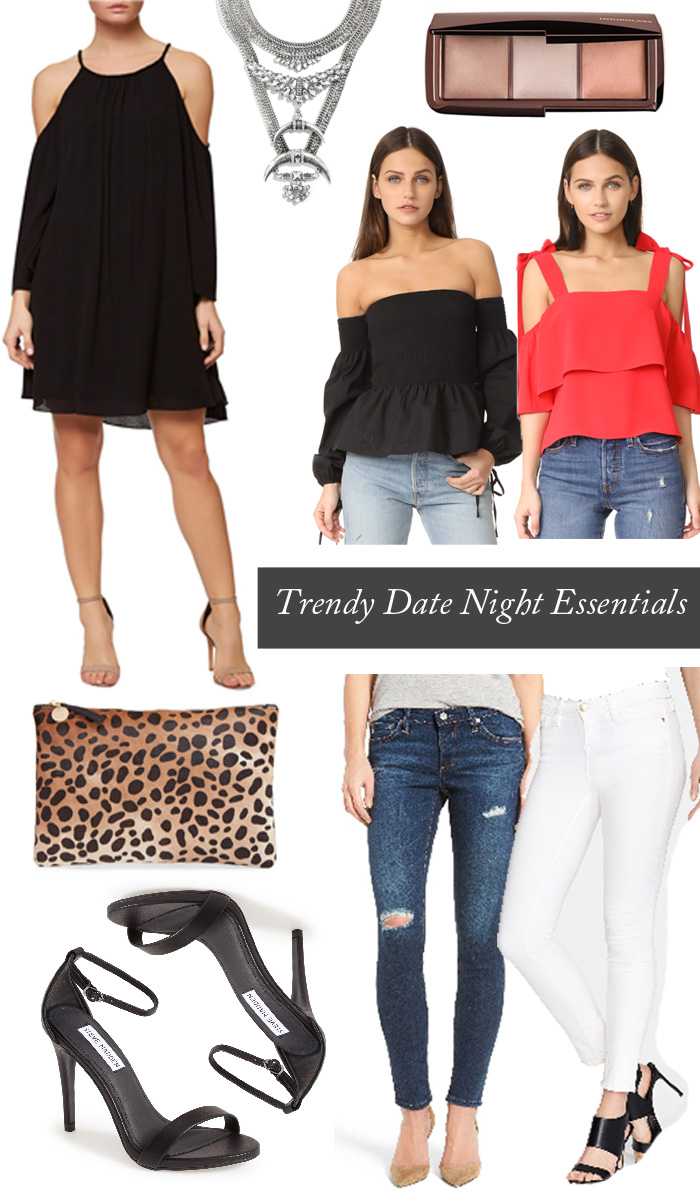 Trendy Date Night Essentials. Great for trying a chic new restaurant, wine bar, concert or couples night out.