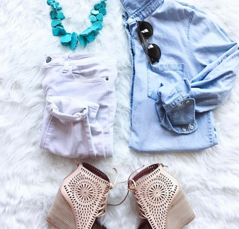 Really cute Spring outfit with chambray shirt and white denim