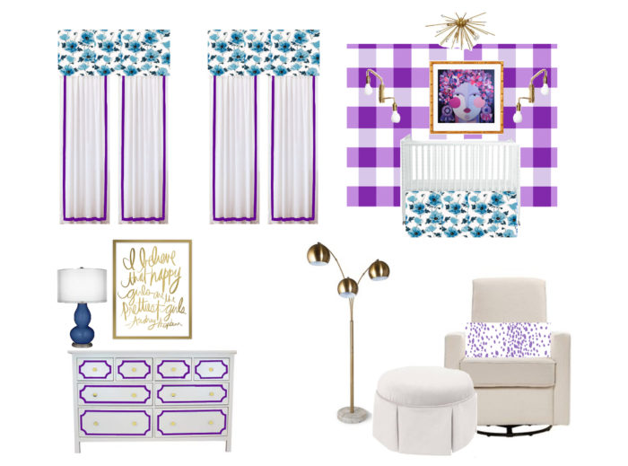 Bright and Bold baby girl nursery inspiration board