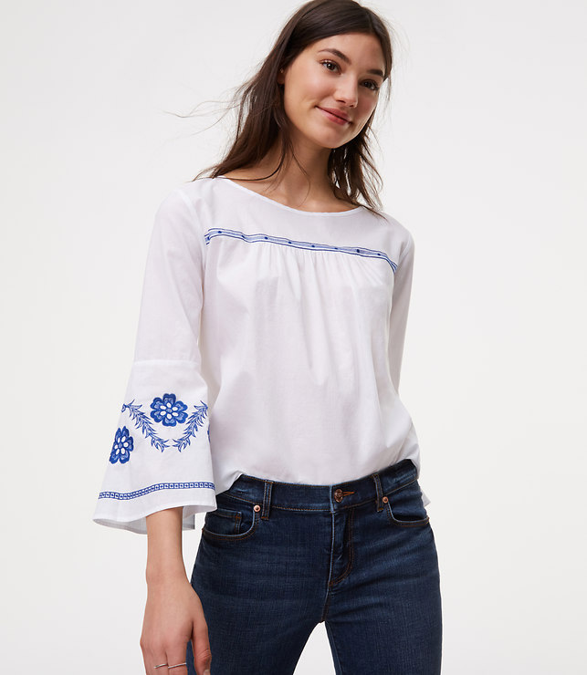 blue and white cotton top