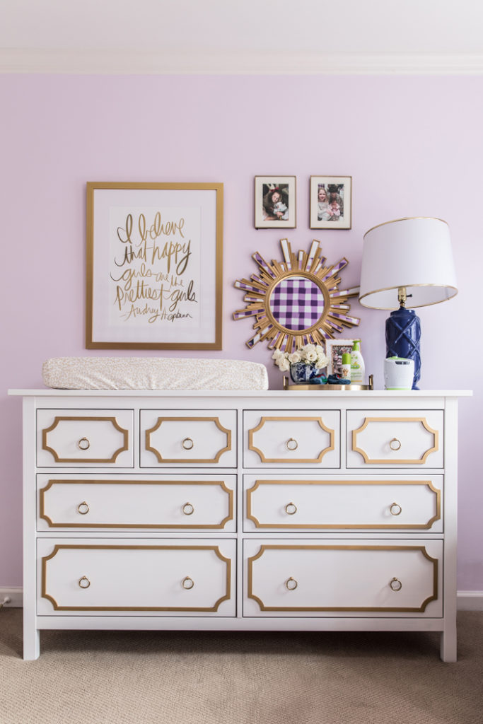 DIY Ikea Hack Hemnes Dresser as a changing table in baby girl nursery