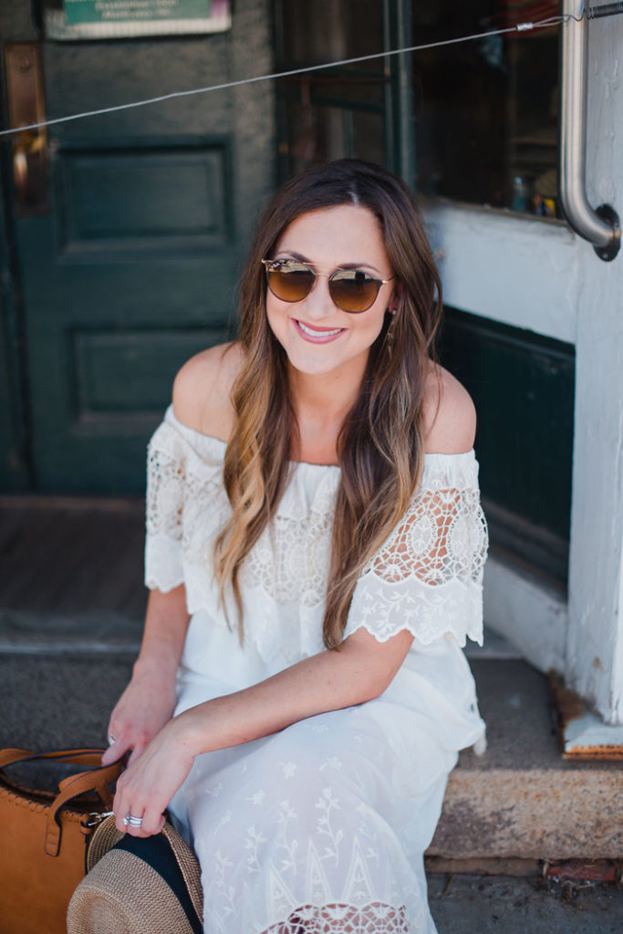 White lace off the shoulder midi dress styled two ways for Summer!