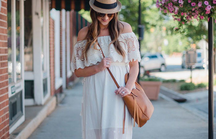 White Lace Dress + Postpartum Confidence