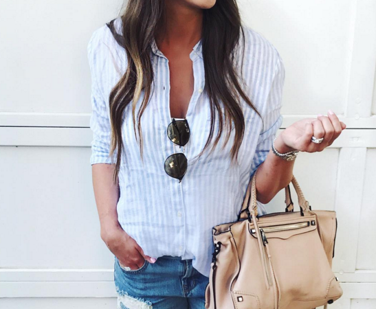Lightweight linen shirt + denim shorts for easy summer style