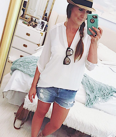 Lightweight tunic + denim shorts make an easy summer outfit