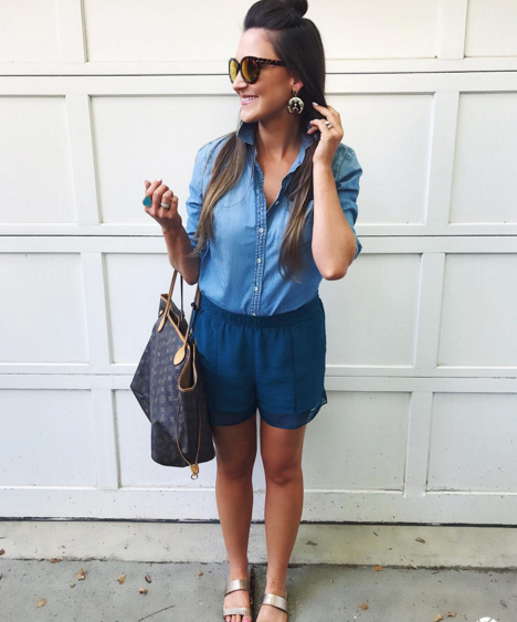 cute lace trimmed shorts and a chambray shirt are an easy summer combo
