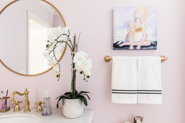 lilac bathroom. Shared girl s bathroom reveal  Lilac and gold with black white tile original Girl Bathroom Reveal Style Your Senses