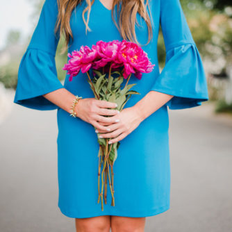 Flutter Sleeve Blue Donna Morgan Dress