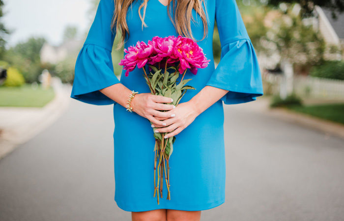 Blue Flutter Sleeve Dress
