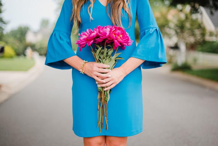 Flutter Sleeve Blue Donna Morgan Dress