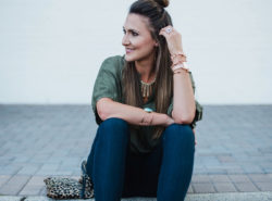 Fall Transition Outfit | green anthropologie top with these amazing and flattering skinny jeans