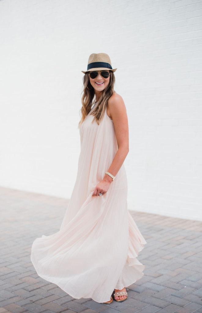 Beautiful pleated maxi dress styled 3 ways by blogger Mallory Fitzsimmons of Style Your Senses