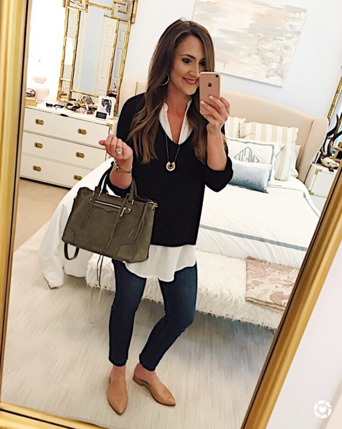 Layered tunic with skinny jeans, mules and rebecca minkoff bag