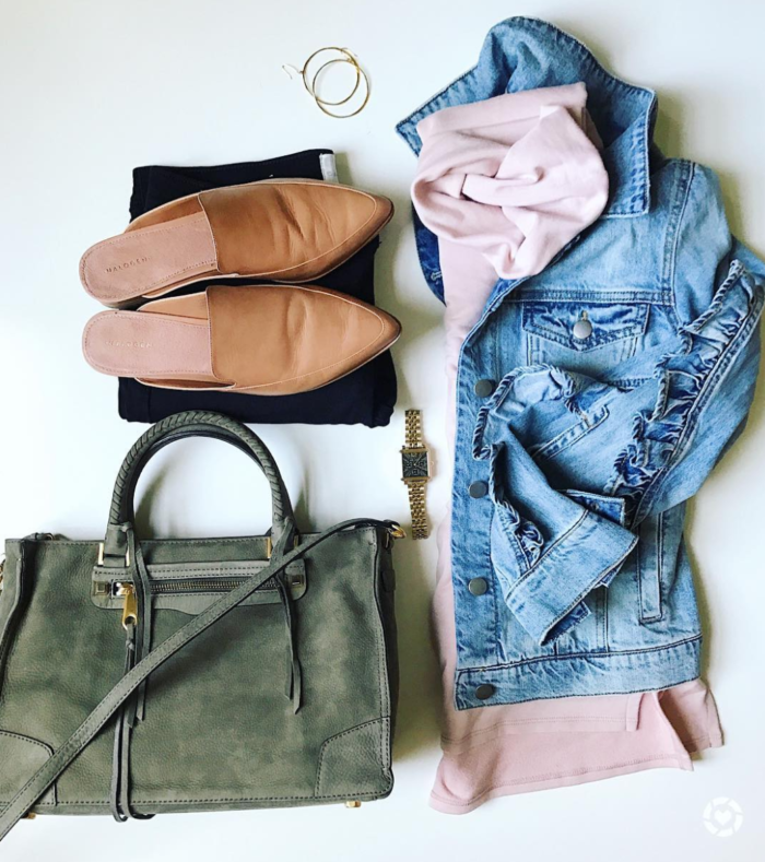 Fall layers with denim jacket and blush sweater