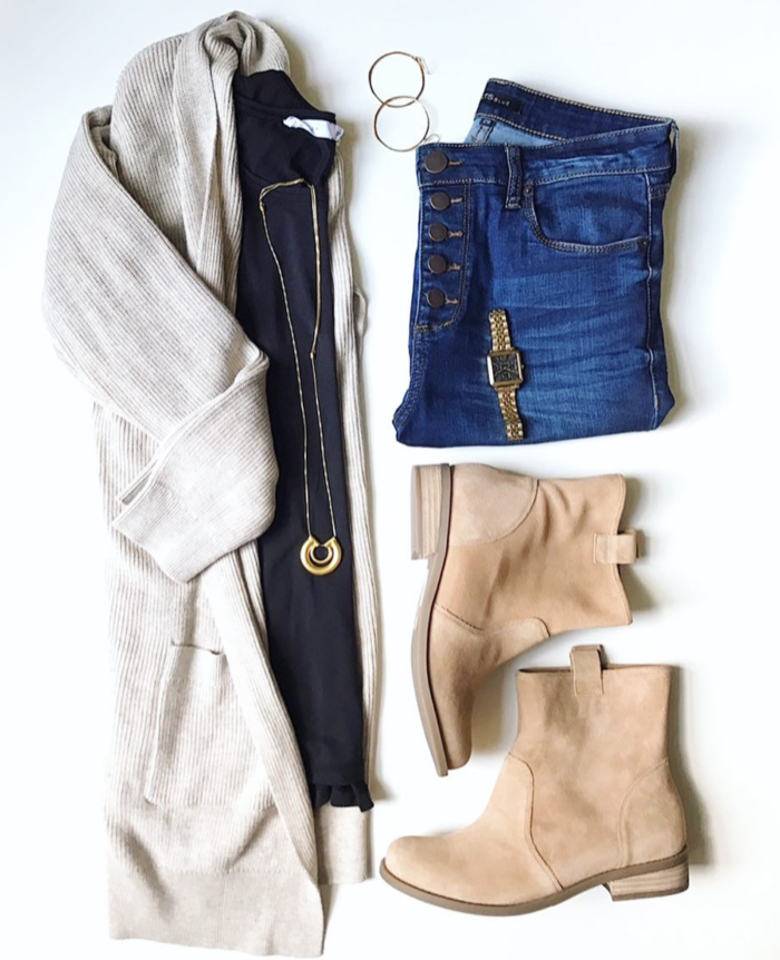 Long layered cardigan with booties for Fall