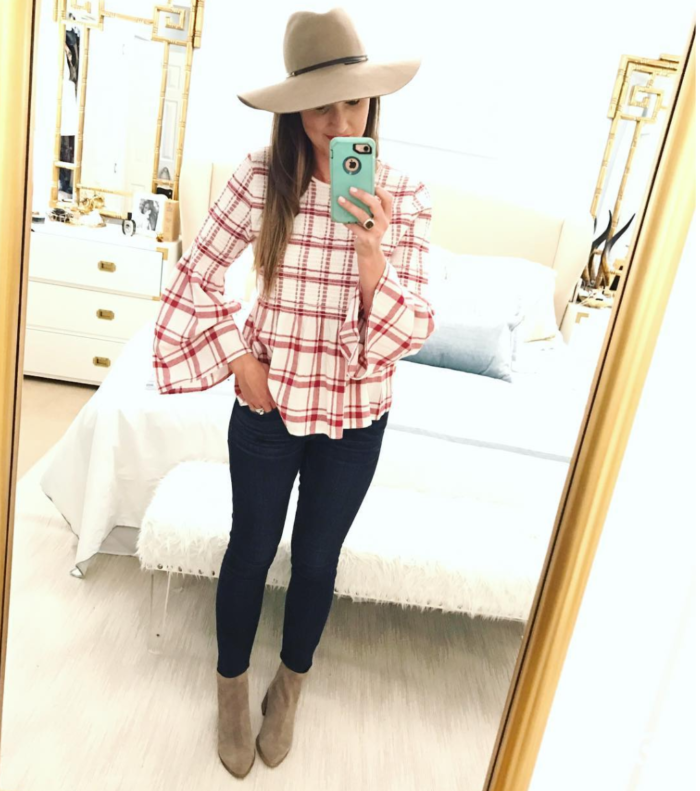 Plaid bell sleeve top with skinny jeans and booties for a cute Fall outfit