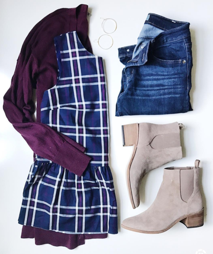 Plaid peplum top with tunic cardigan and booties for a cute and casual Fall outfit