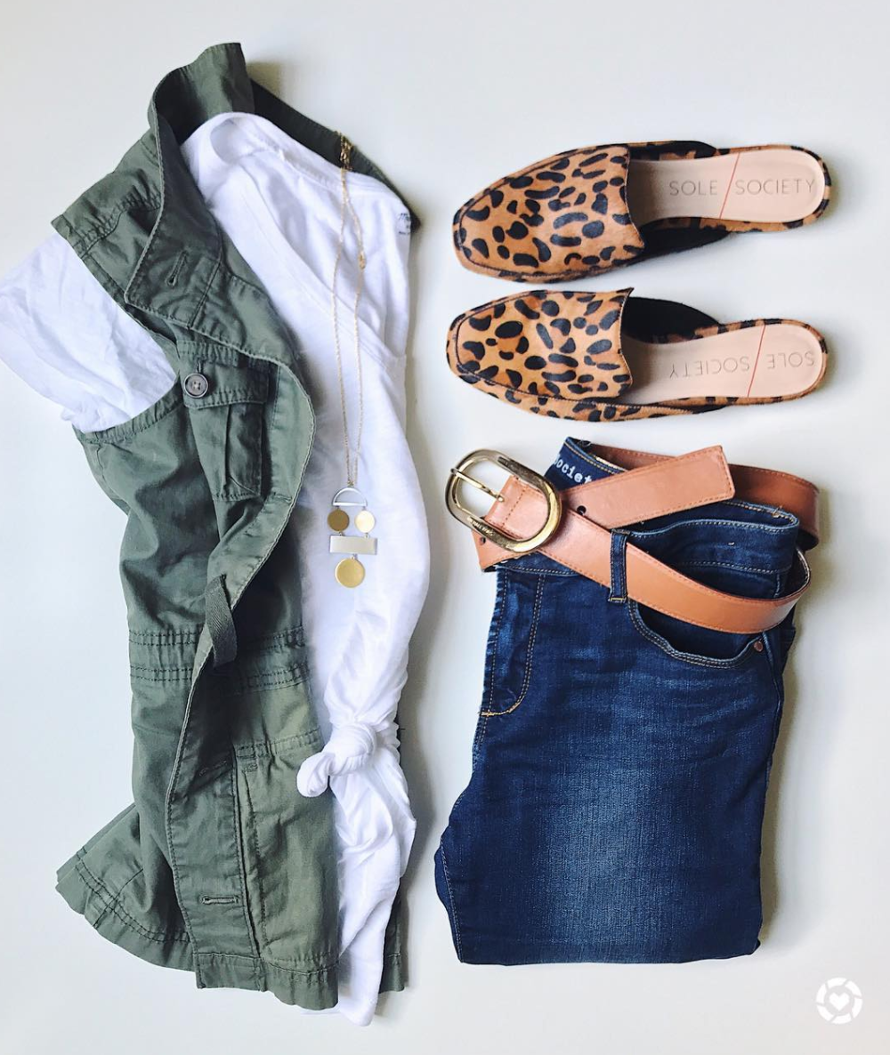 Cute outfit for Fall with utility vest and leopard mules