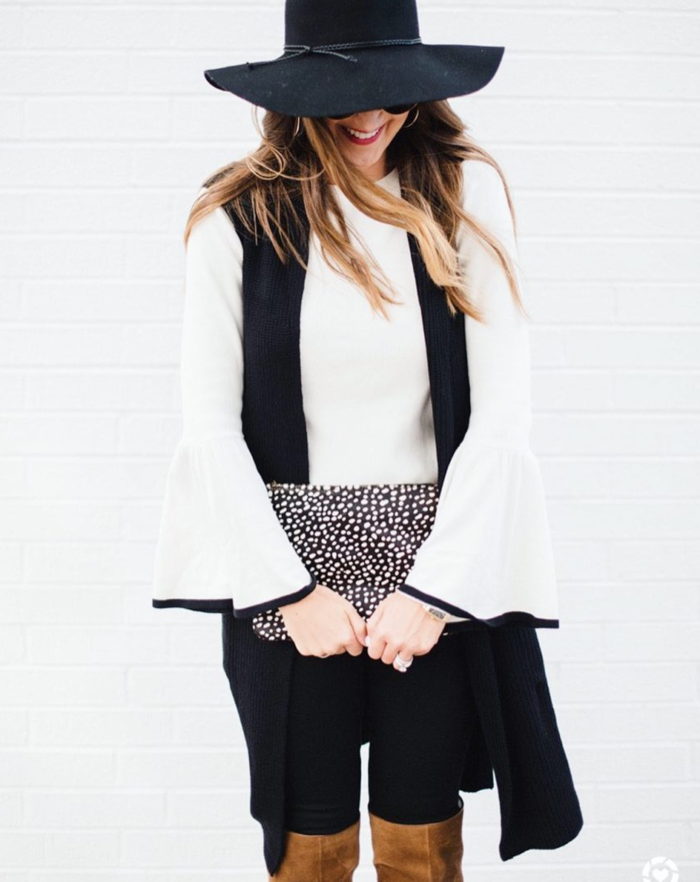 Bell sleeve top with tunic sweater vest for an easy Fall outfit
