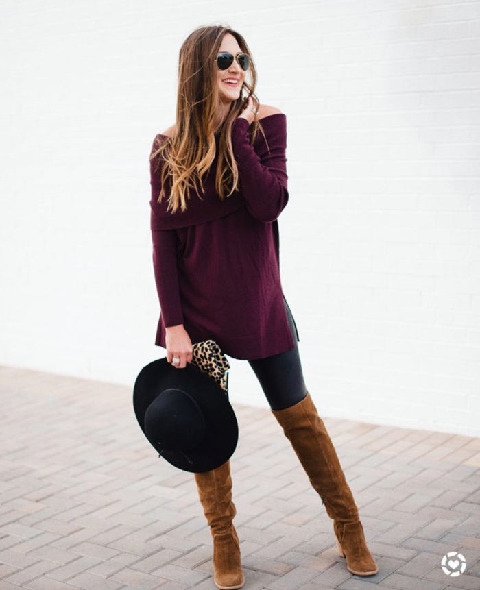 Spanx leggings and off the shoulder sweater styled for Fall
