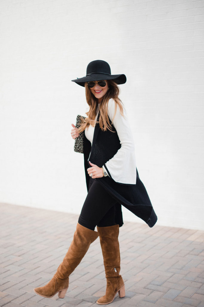 Fall outfit with bell sleeve sweater and over the knee boots