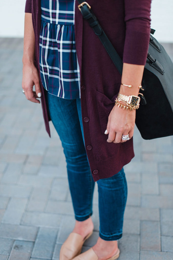 Plaid peplum top with a long cardigan, skinny jeans and tan mules for a fun Fall transition outfit.