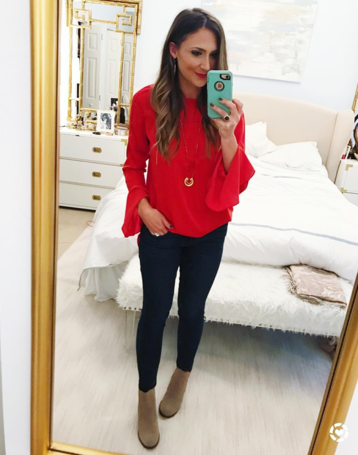 Red bell sleeve blouse