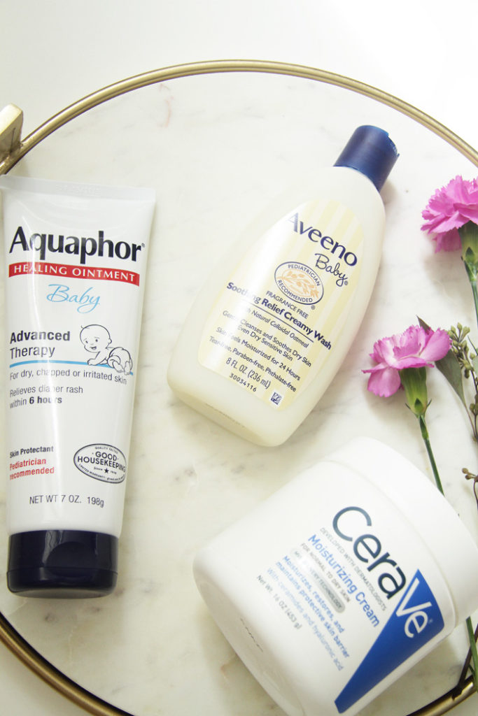 Bath time essentials for babies with sensitive skin.