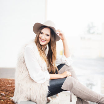 Faux Fur Vest With Over the Knee Boots