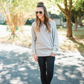 Off The Shoulder Sweatshirt Worn Two Ways!