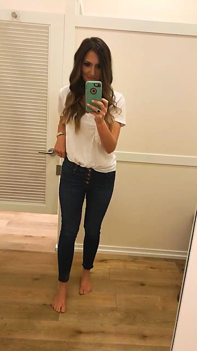 loft modern skinny button front jeans fit review