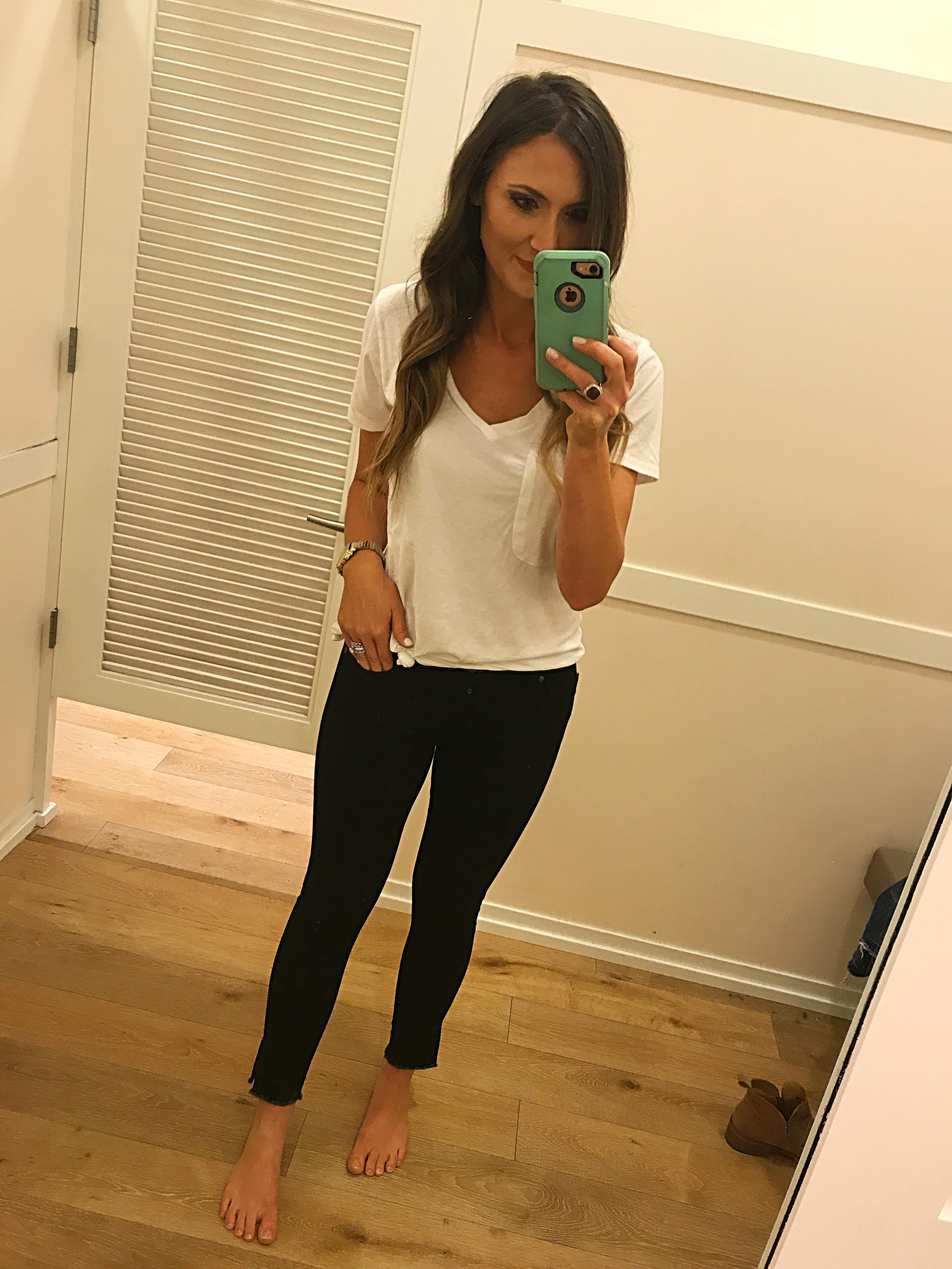 LOFT Modern skinny black jeans fit review