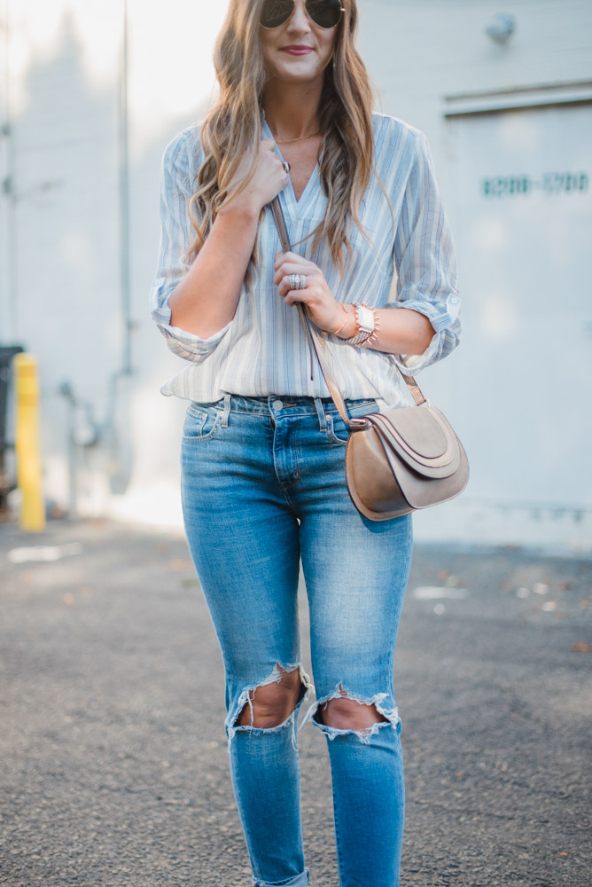Spring transition style with a breezy button down, busted knee Levi's and sole society accessories