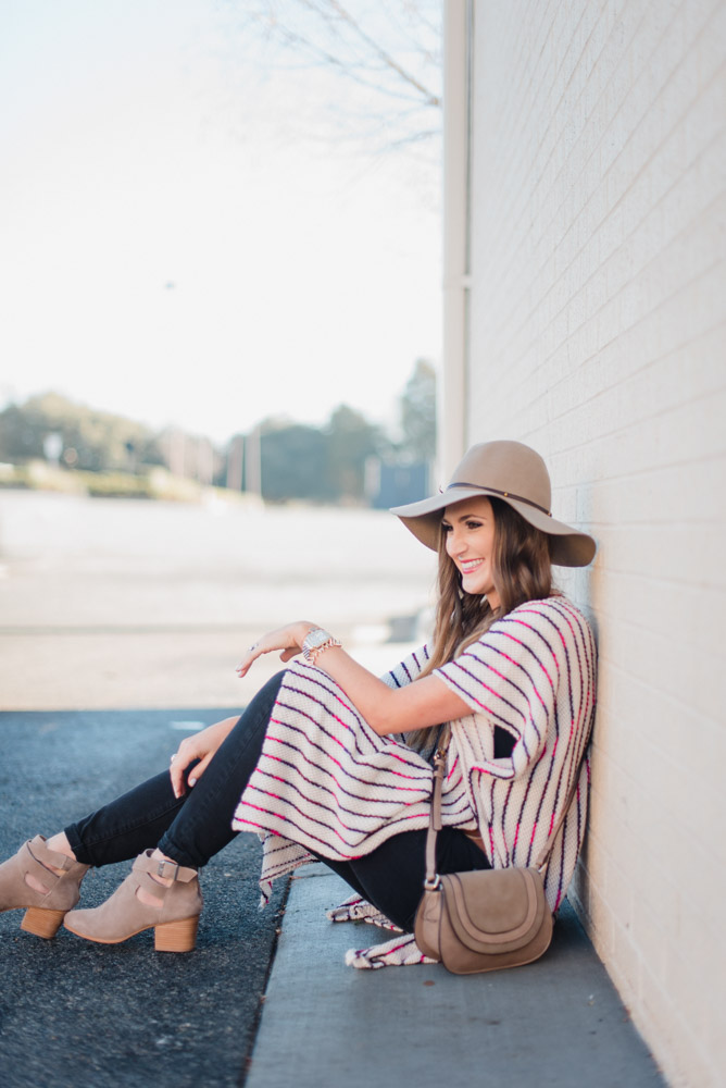 Spring Transition outfit with long poncho and gucci belt